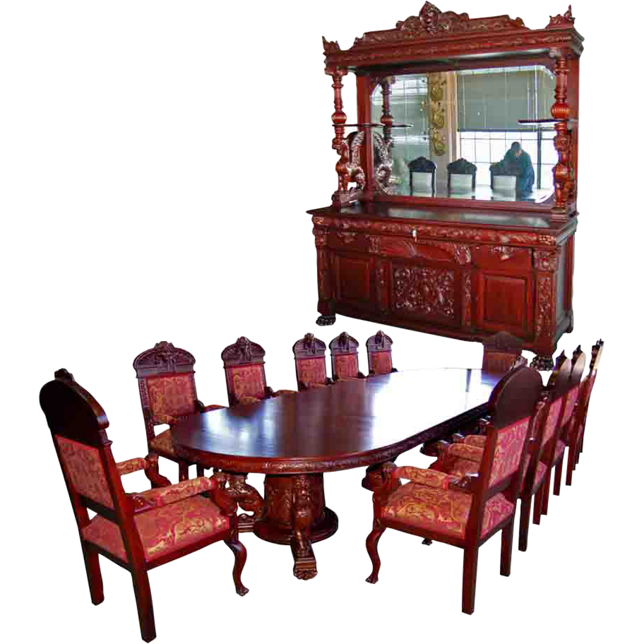 7203 R.J. Horner 15-Pc. Winged Griffin Carved Mahogany Dining Room Set