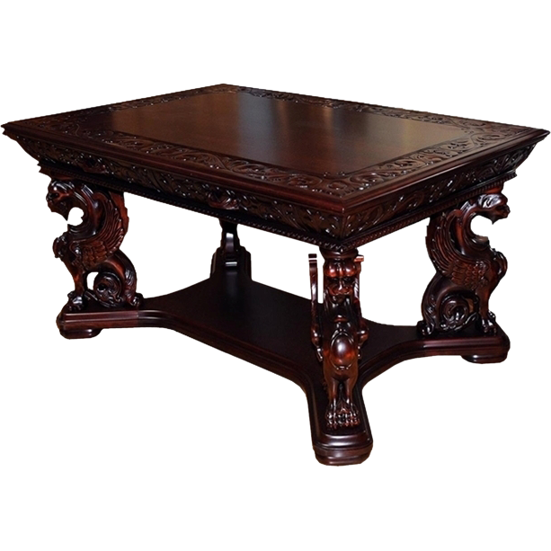 7204 19th C. American Victorian Griffin Library Table by R.J. Horner