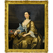 7211 Antique 18th C. Oil on Canvas Portrait of a Lady