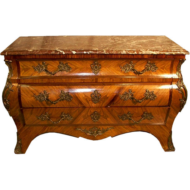 7217 19th C. French Kingswood Marble Top Commode