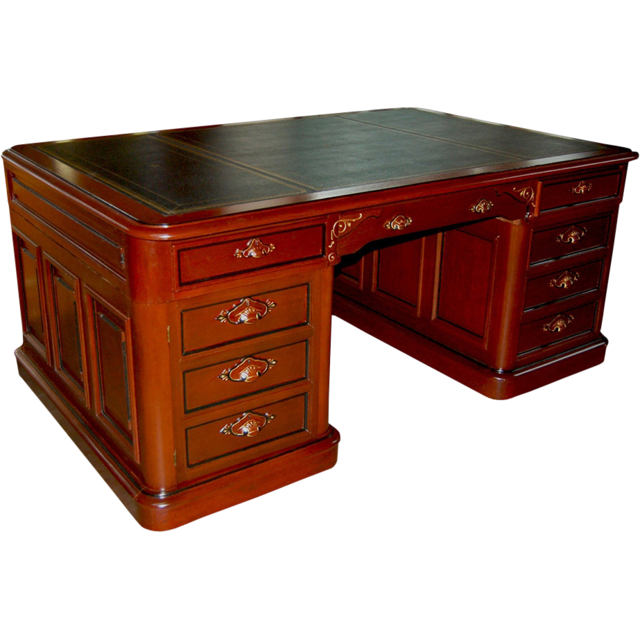 7229 American Walnut Partners Desk with Black Leather Top