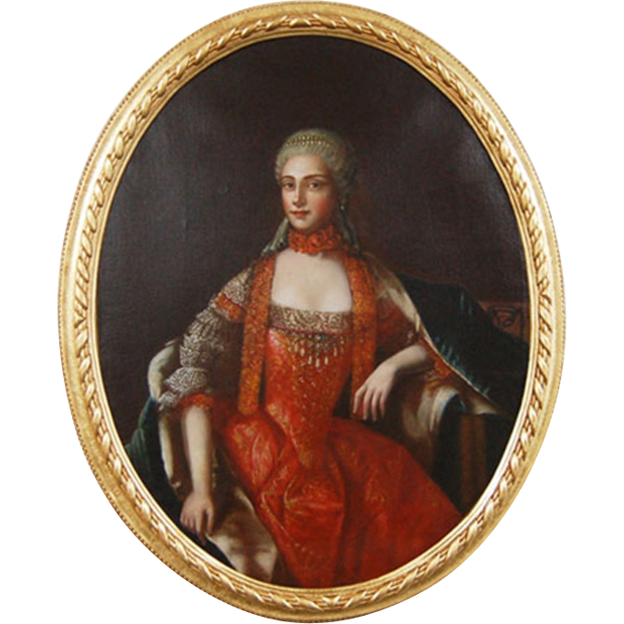 7236 Antique 18th C. Oil on Canvas French Court Portrait