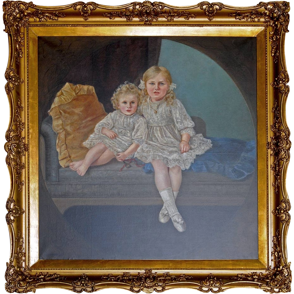 7238 Antique Oil on Canvas Portrait of Two Sisters signed Anne Marks
