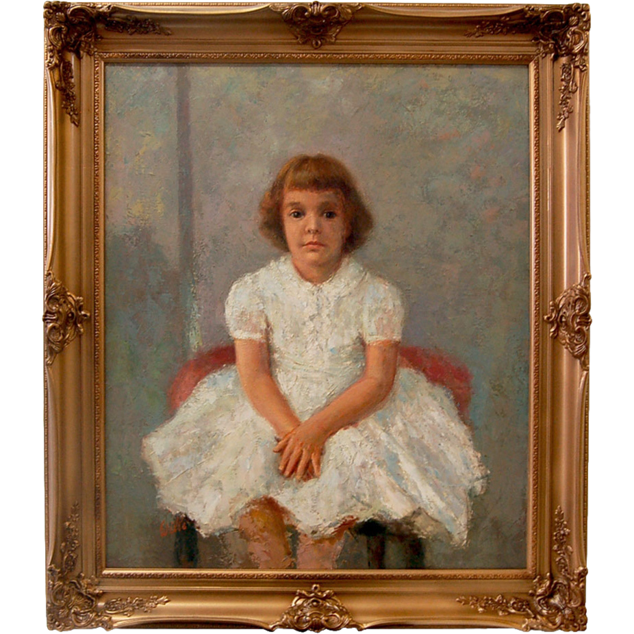 7244 Antique Oil on Canvas Portrait of a Young Girl signed Willie