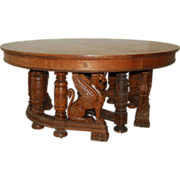 7247 19th C. American Oak Heavily Carved Winged Griffin Oak Dining Table