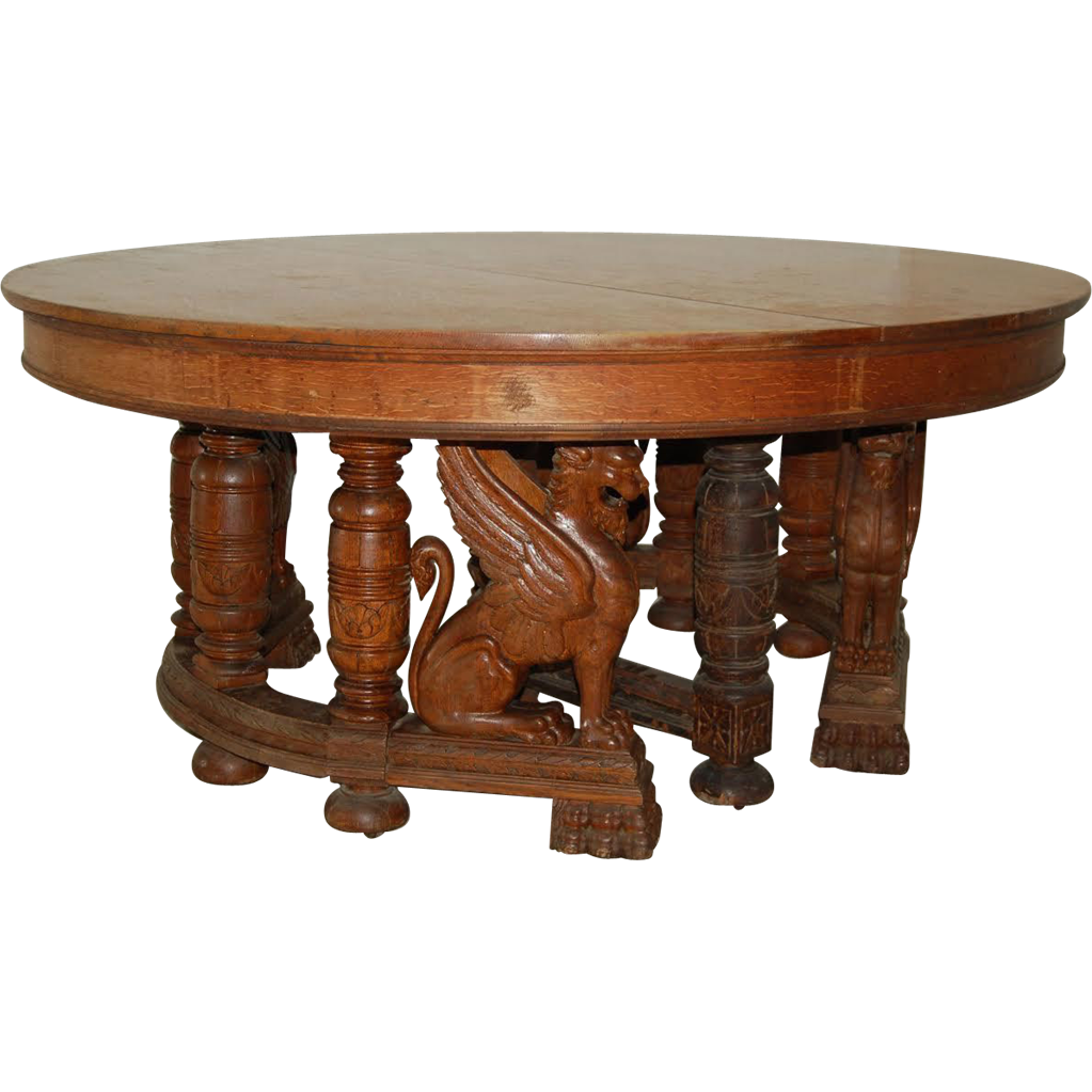 19th C American Oak Heavily Carved Winged Griffin Oak Dining Table
