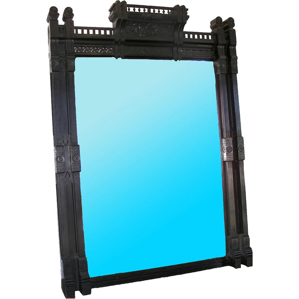 7251 Antique American Aesthetic Movement Ebonized Over Mantel Mirror
