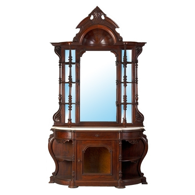 7259 19th C. Victorian Carved Walnut Étagère