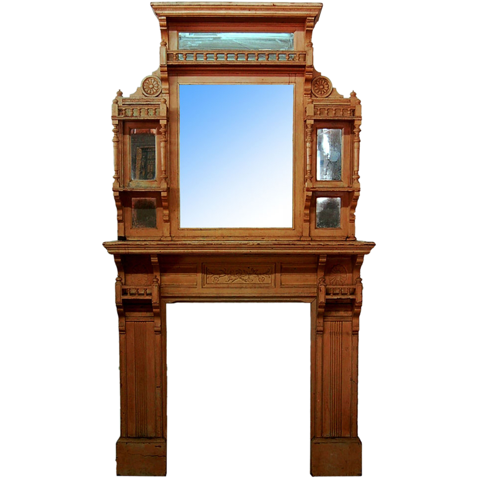 7265 American Aesthetic Movement Walnut Fireplace Mantel & Over Mirror c. 1875