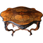 7267 Carved Burled Walnut Rococo Table