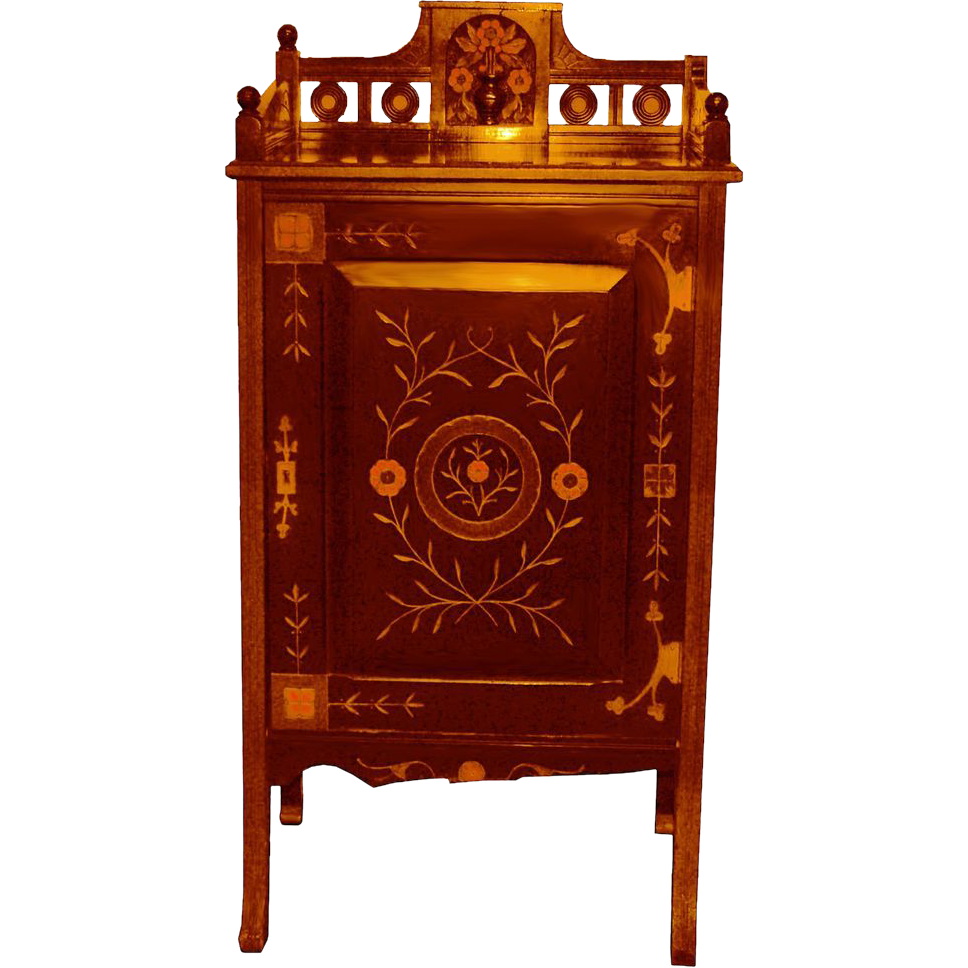 7268 American Aesthetic Movement Rosewood and Cherrywood Gilt Incised Cabinet