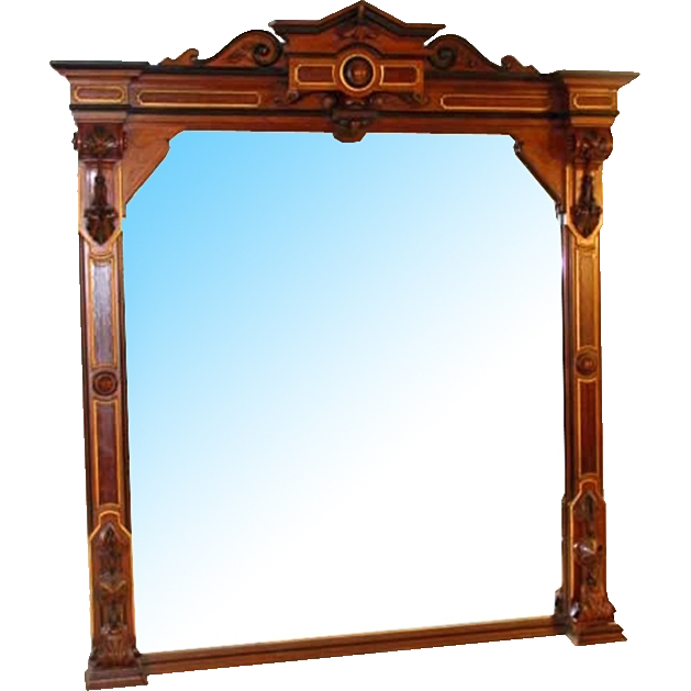 7272 Antique Victorian Walnut Wall Mirror