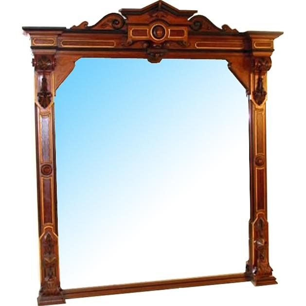7272 Antique Victorian Walnut Wall Mirror
