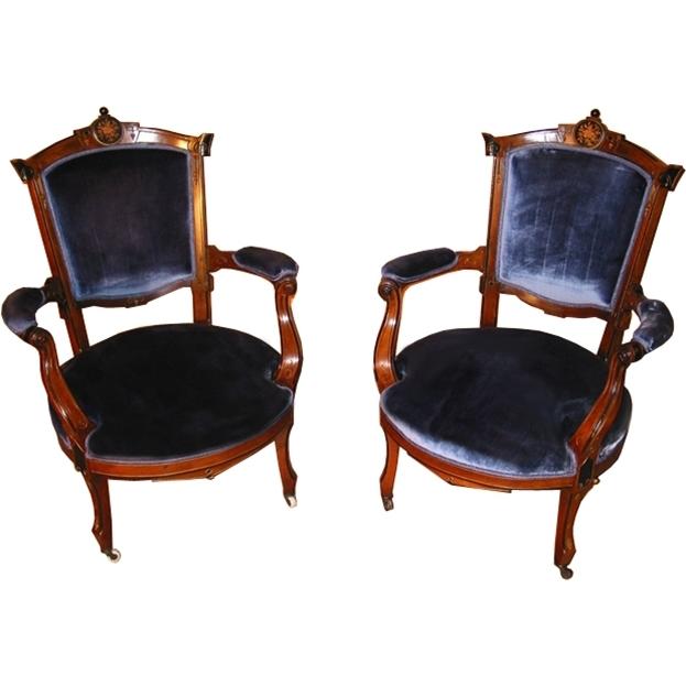 7278 Pair of 19th C. Renaissance Revival Armchairs