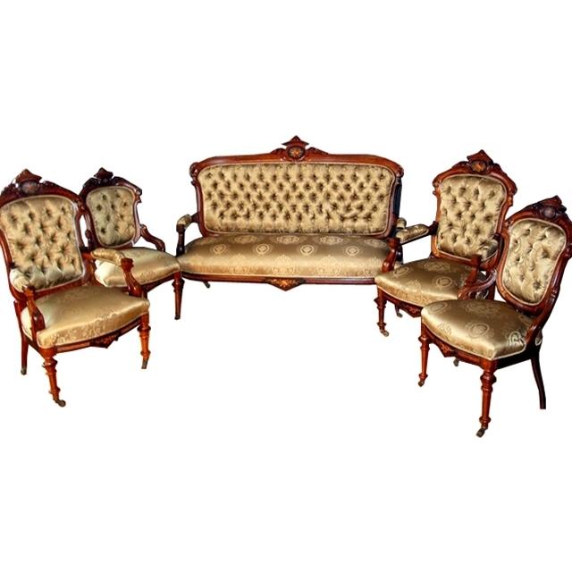 7279 19th C. 5-Piece Rosewood Rococo Parlor Set