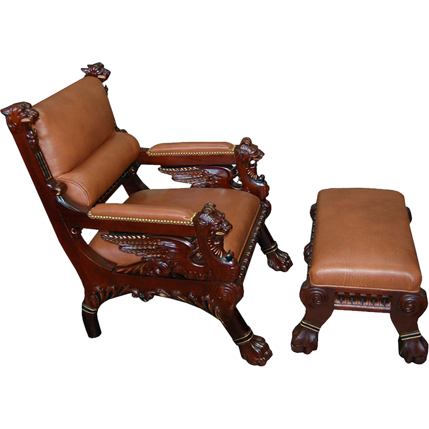 7294 Victorian Mahogany Armchair & Ottoman with Carved Winged Griffins
