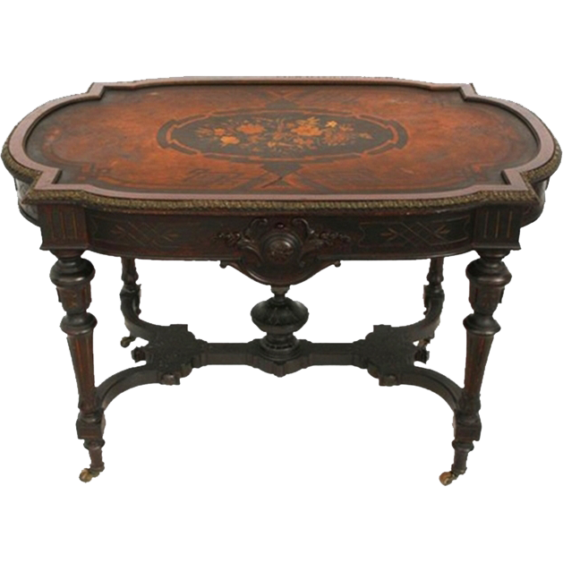 7298 American Renaissance Revival Rosewood Inlaid Table