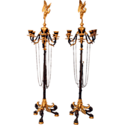 7301 Pair of Figural Regency Bronze 6-Arm Candelabras