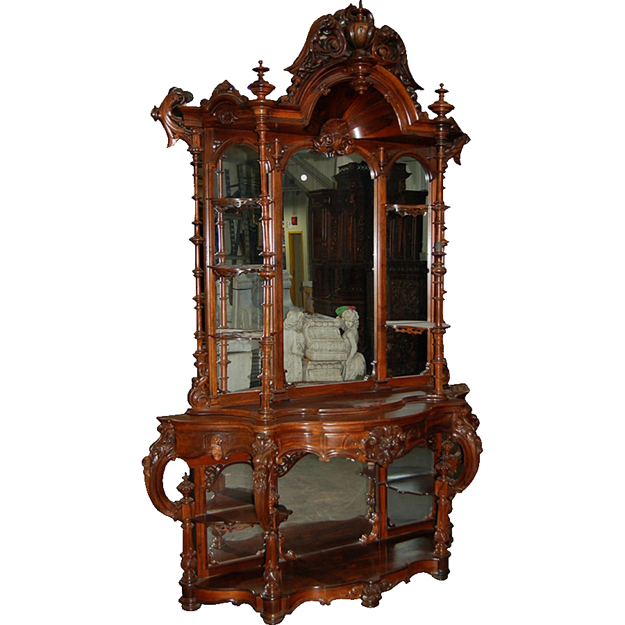 7302 Antique Rococo Carved Rosewood Étagère by Thomas Brooks