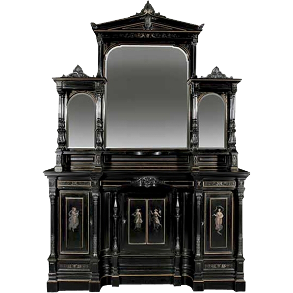 7304 American Aesthetic Ebonized Parlor Cabinetry by Pottier & Stymus Made for the Pullman Family
