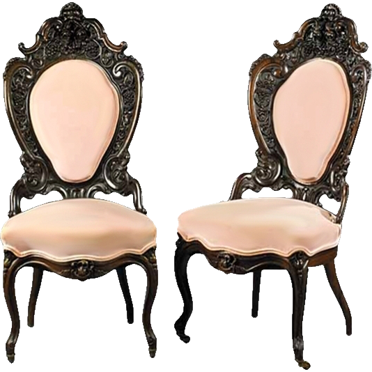7305 Pair of 19th C. American Rococo Armchairs by J.W. Meeks