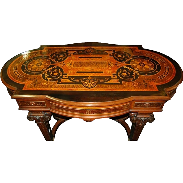 7306 19th C. American Renaissance Inlaid Parlor Table