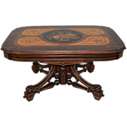 7283 American Rosewood Renaissance Revival Inlaid Berkey and Gay Coffee Table