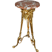 7315 Bronze Egyptian Revival Empire Pedestal with Rose Marble Top