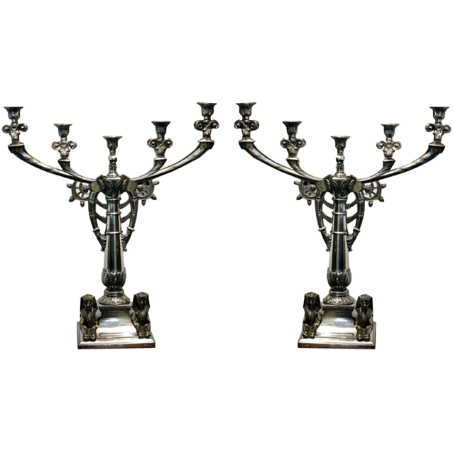 7323 Pair of Egyptian Revival Silver Plate Candelabras by Tiffany