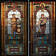 7325 Pair of 19th C. Jeweled Beveled & Stained Glass Windows