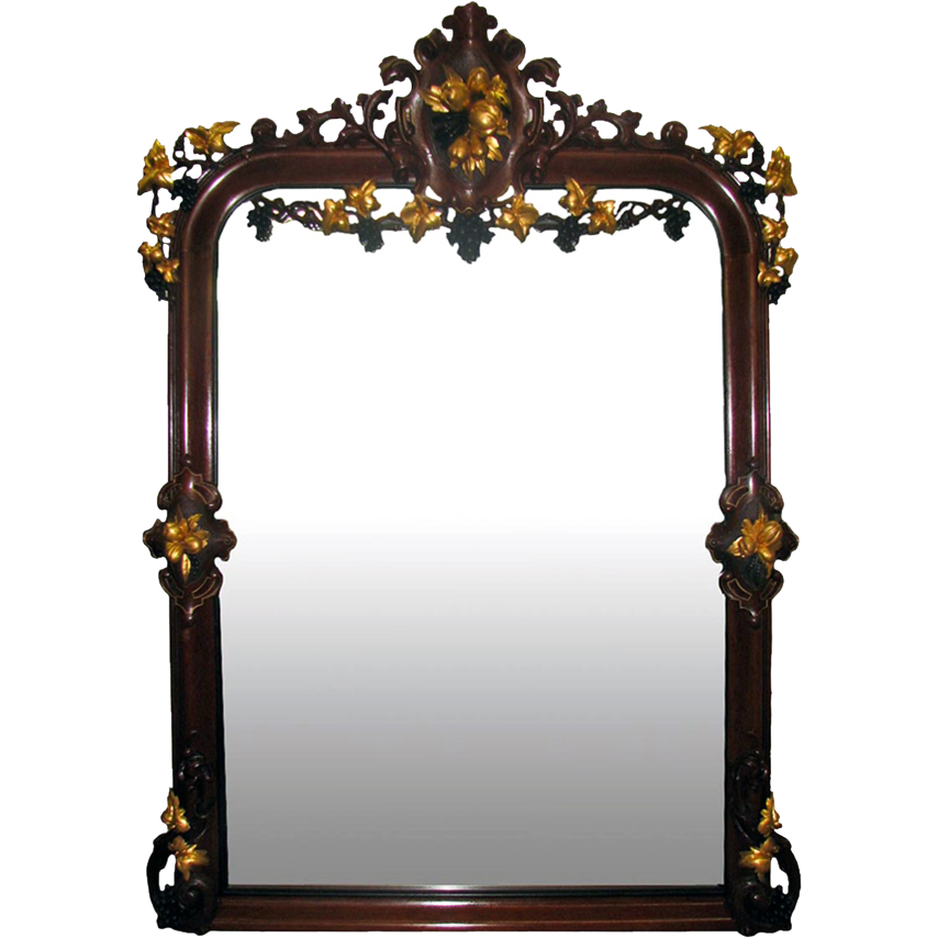 7336 Antique 19th Century Carved Renaissance Revival Mirror with Gilt Details