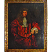 7358a 17th C. Oil on Canvas Portrait of Nathaniel Brand