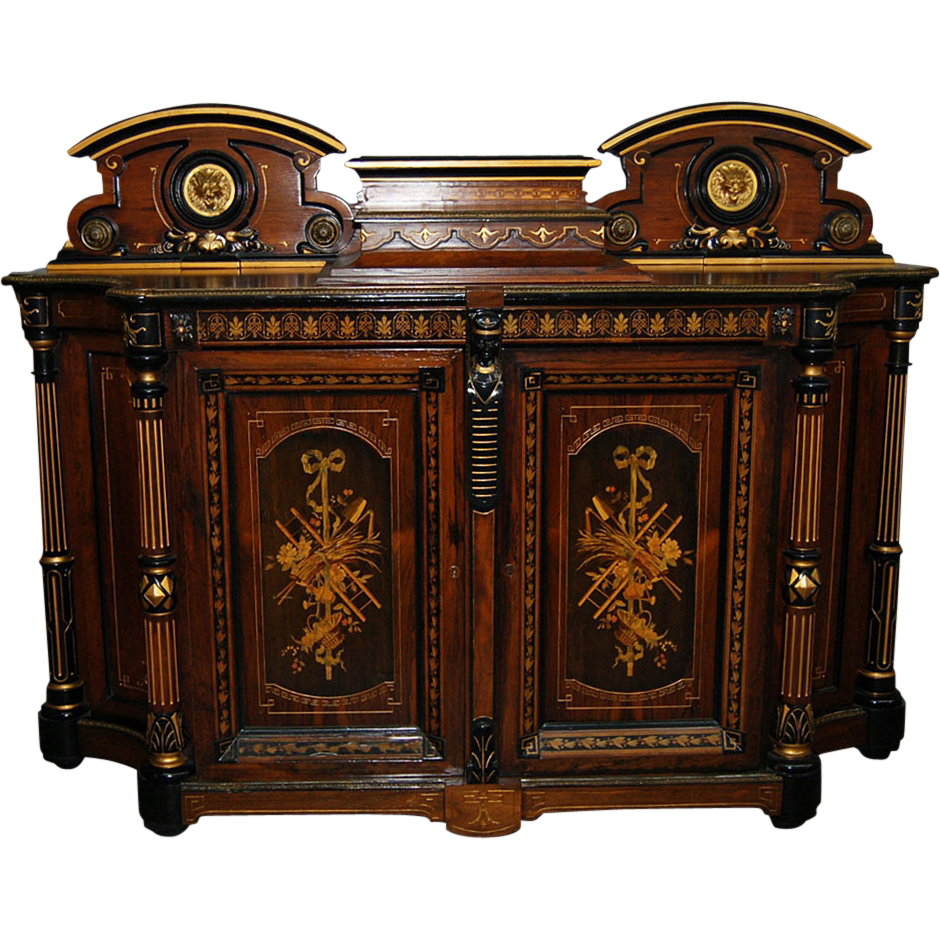 7497 Carved Inlaid Cabinet with Bronze Lion Plaques by Herter