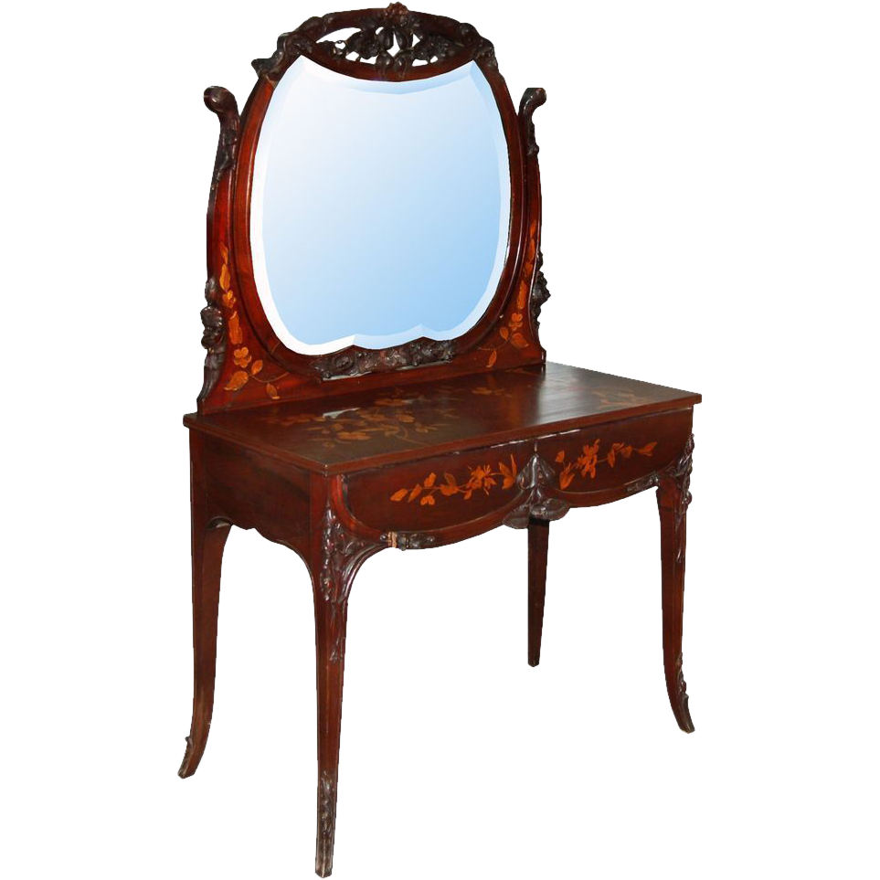 7386 19th C. American R.J. Horner Mahogany Inlaid Vanity