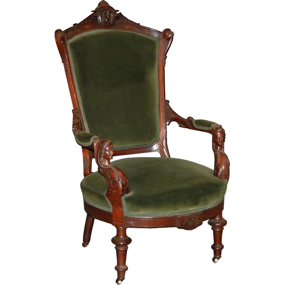 7388 Victorian Walnut Armchair by John Jelliff c. 1880