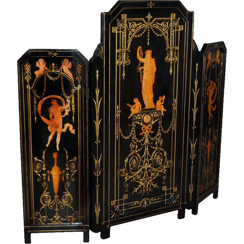 7392 Antique 19th C. Figural Inlaid Tri-Fold Ebonized Dressing Screen