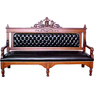 7393 Carved Quartersawn Oak Railroad Benches c. 1880