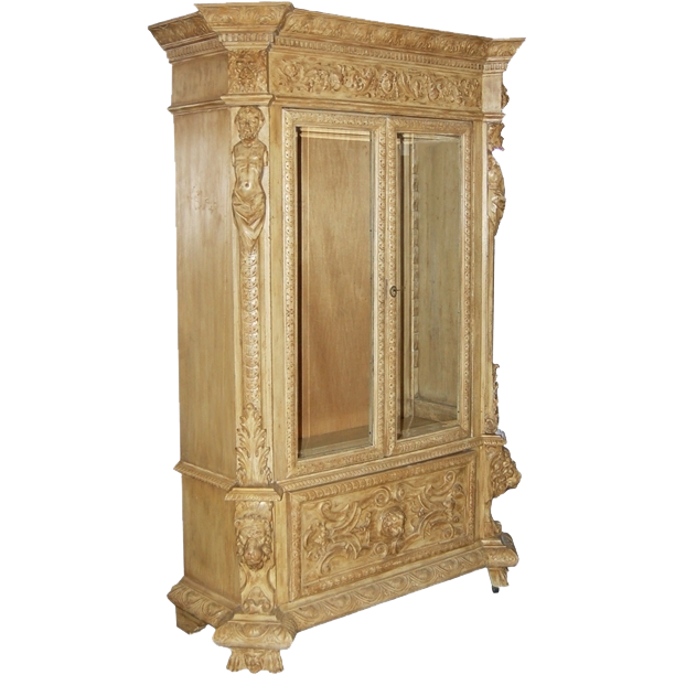 7405 19th C. Carved Curio Cabinet