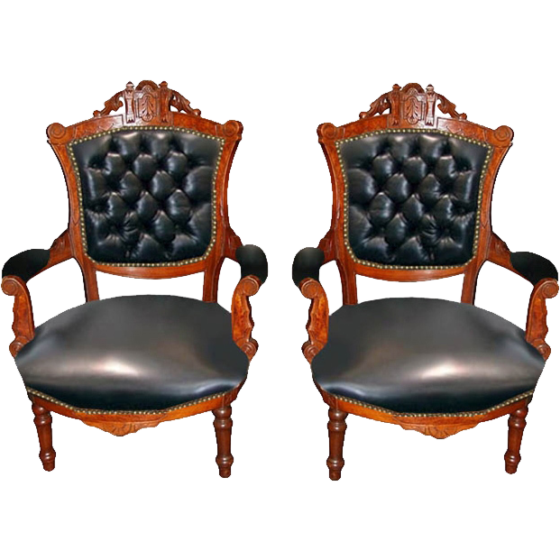 7406 Pair of Victorian Carved Walnut Arm Chairs c. 1880