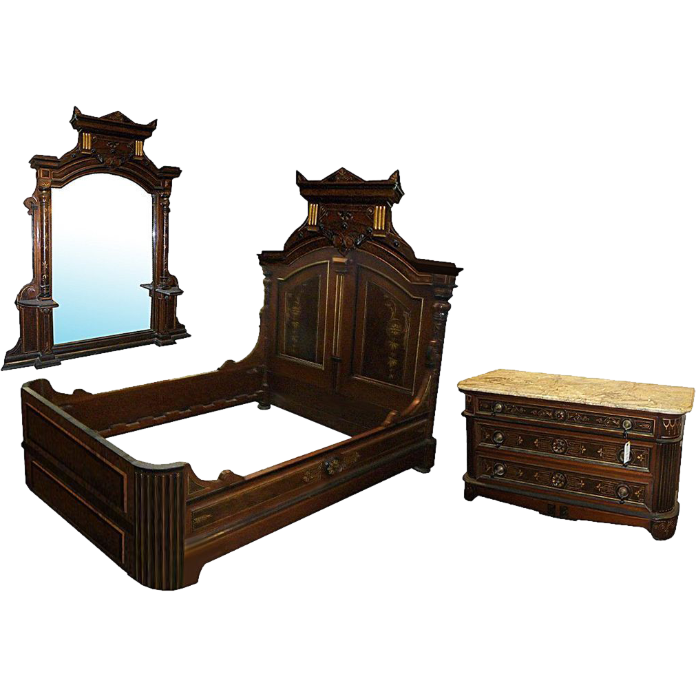 7410 Pottier & Stymus Renaissance Revival 3-Piece Bed Set
