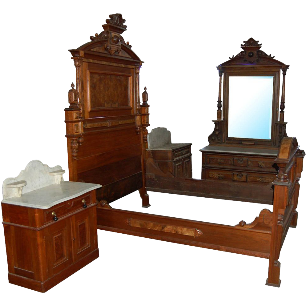 7418 4-Piece Walnut Victorian Bedset by Thomas Brooks