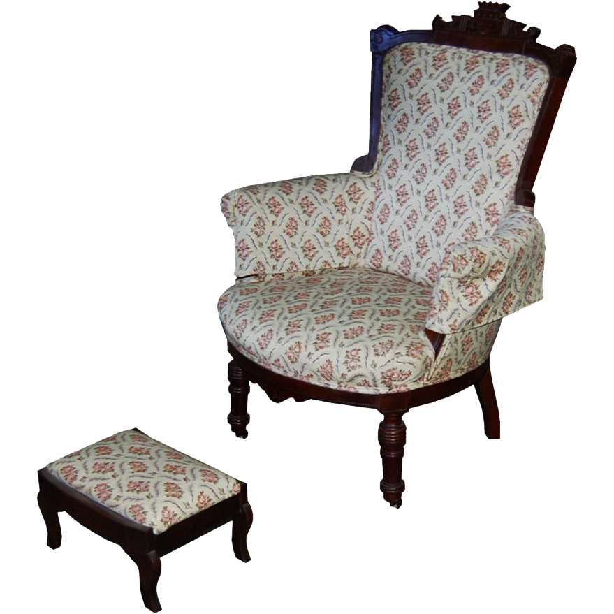 7420 Carved Victorian Armchair with Footstool