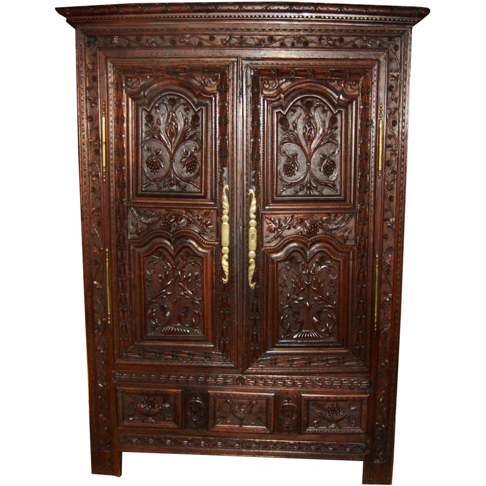 7428 19th C. Carved Walnut Wardrobe