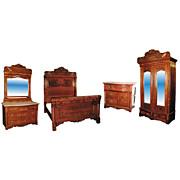 743 Unusual Antique 19th C. American 4-Pc. Walnut & Burl Bedroom Suite
