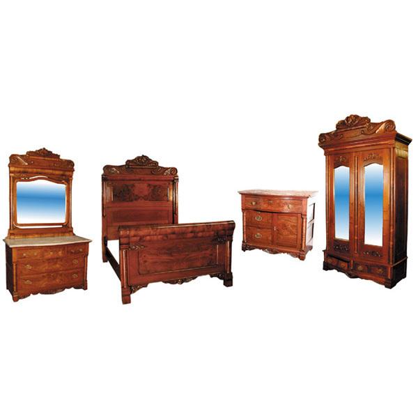 743 unusual antique 19th c american 4 pc walnut burl bedroom suite