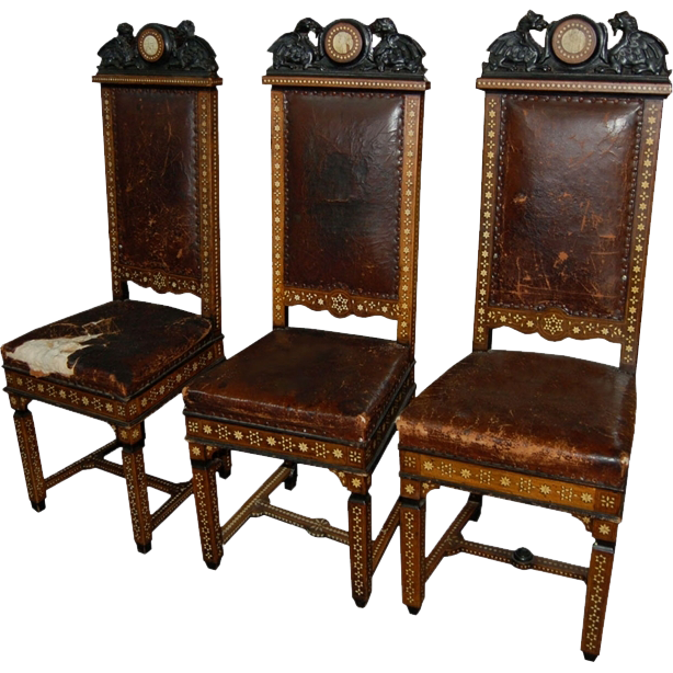 7433 Set of Three Inlaid European Griffin Dining Chairs