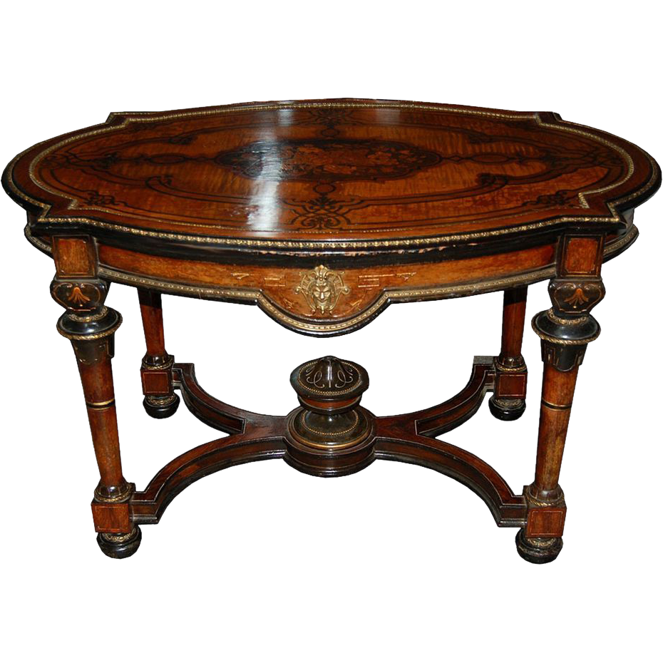 7439 19th C. Burled Walnut Bronze Mounted Center Table