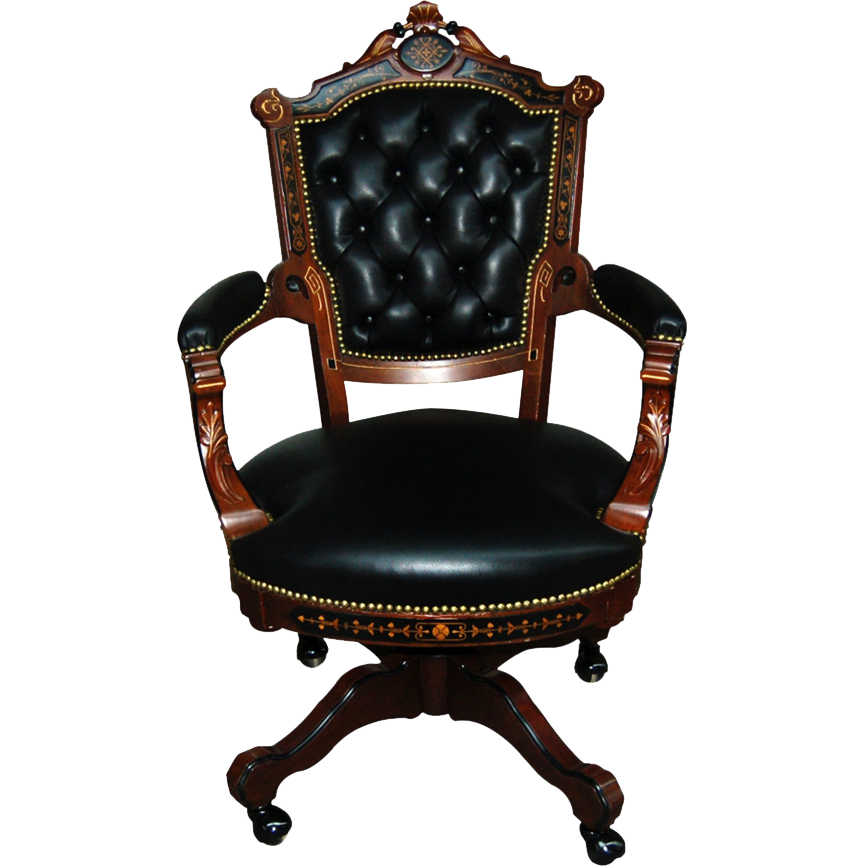 7440 19th C. Victorian American Inlaid Swivel Chair