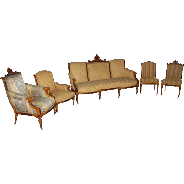 7443 5 Pc. Inlaid Renaissance Revival Parlor Set