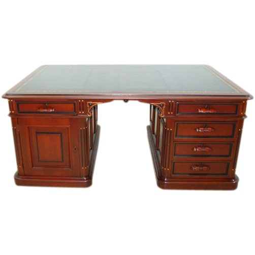 7448 Partners Desk with Black Leather Top